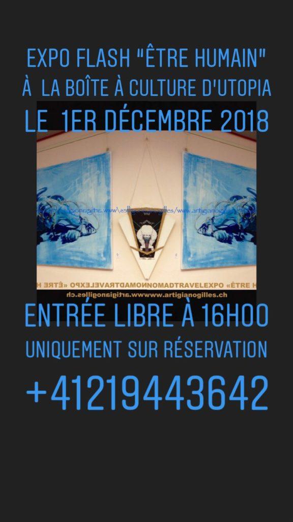 """©La Boîte à Culture d'UTOPIA : EXPO """"flash"""" """"Être humain"""", vernissage le 1.12.2018, expo jusqu'au 7.12.2018 à ©UTOPIA Ecole et Troupe de Danse de Lausanne"""